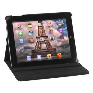 360 Degree Rotating Leather Case til iPad 2, 3, 4 - Sort