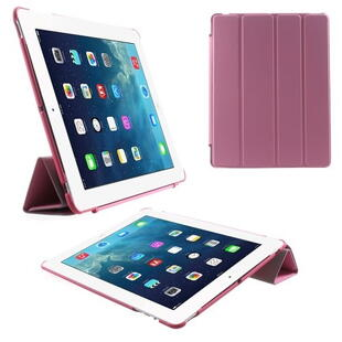 Four-fold Smart Leather Stand Case til iPad 2 / 3 / 4 - Pink
