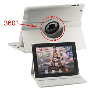 360 Degree Rotating Leather Case for iPad 2, 3, 4 - White