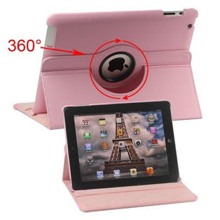 360 Degree Rotating Leather Case til iPad 2, 3, 4 - Pink