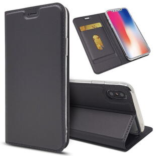 Magnetic PU Leather Card Holder Case til iPhone X Sort