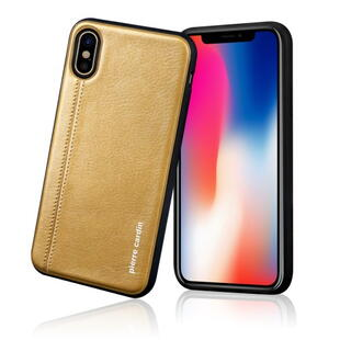 PIERRE CARDIN Stitched Genuine Leather Coated TPU Back Case til iPhone X Guld