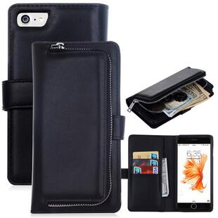 Apple iPhone 7/8 2 in 1 Magnetic Absorbed Zippered Wallet Leather Case Black