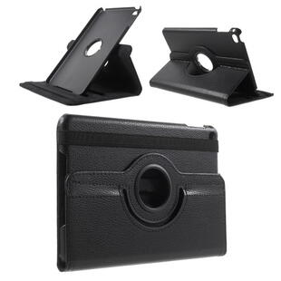 Apple iPad Mini 4 Lychee 360-Rotation Leather Stand Case Black