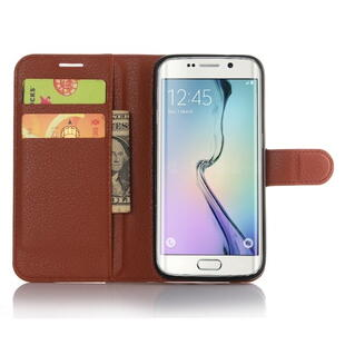 Litchi Texture Wallet Stand Leather Case for Samsung Galaxy S7 Edge Brun