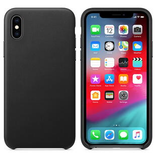 Real Leather Case for iPhone X Black