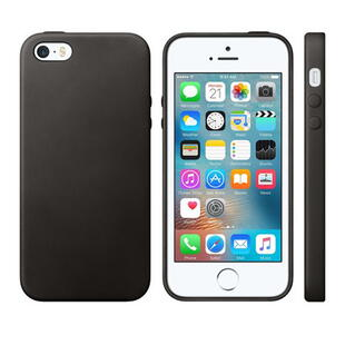 Ægte Læder Hard Case til iPhone 5/5S/5SE Sort