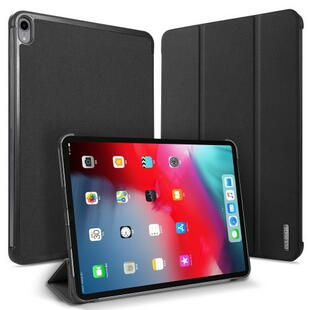 DUX DUCIS Domo Series Cloth Texture Tri-fold Stand PU Leather Smart Case for iPad Pro 11-inch (2018) - Black