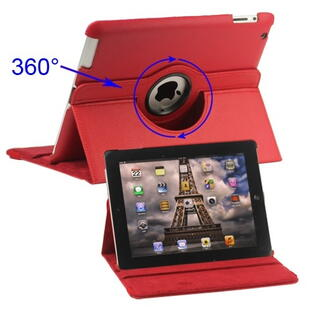 360 Degree Rotating Leather Case for iPad 2/3/4 - Red