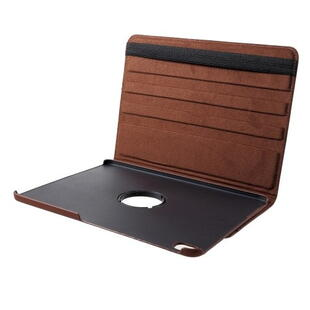 iPad Pro 12.9-inch (2018) Litchi Grain Leather Cover with 360 Degree Rotary Stand - Brown