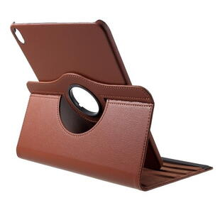iPad Pro 11-inch (2018) Litchi Grain Leather Cover with 360 Degree Rotary Stand - Brown
