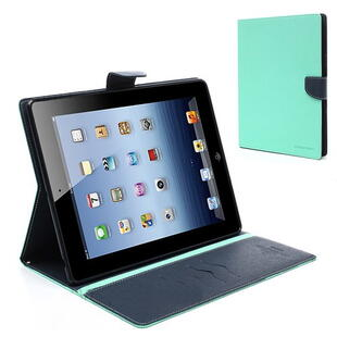 Mercury Goospery Fancy Diary Case for iPad 2/3/4 Cyan/Dark Blue