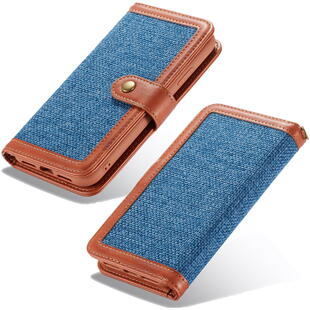 Retro Burlap Flip Case for iPhone 6/6S/7/8 Plus Blue