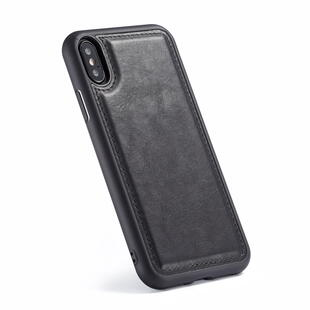 Retro Burlap Flip Case for iPhone X/XS Black
