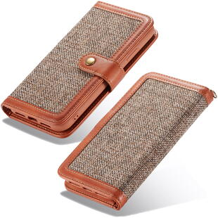 Retro Burlap Flip Case for iPhone XS MAX Brown