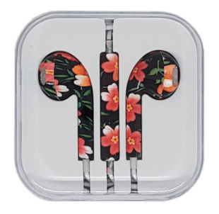 In-Ear Headset with remote/mic Red Flower