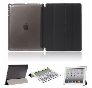 Four-fold Leather Flip Case for iPad 2/3/4 Black