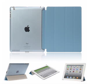 Four-fold Leather Flip Case for iPad 2/3/4 Blue