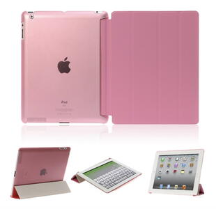 Four-fold Leather Flip Case for iPad 2/3/4 Pink