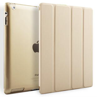 Four-fold Leather Flip Case for iPad 2/3/4 Gold
