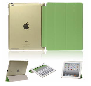 Four-fold Leather Flip Case for iPad 2/3/4 Green