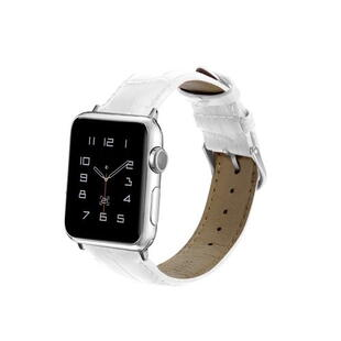 Apple Watch 42mm og 44mm PU Leather Band White