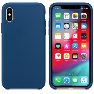 Hard Silicone Case for iPhone XS Dark Blue