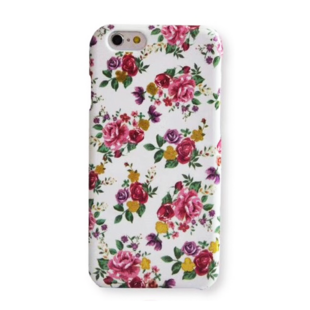 Flower Hard Case with Roses for iPhone XR White