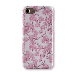 Flower Hard Case with Cherry Blossoms for iPhone XR Pink
