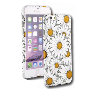 Flower Hard Case with Daisies for iPhone 7 Plus/8 Plus White/Yellow