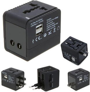 Universal Travel Adapter Charger Black
