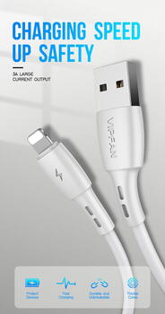 VIPFAN CB-X5 Lightning Cable (2m.) White Blister
