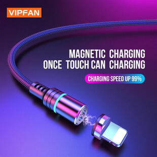 VIPFAN CB-A5 Magnetic Lightning Kabel (1m.) Sort Blister