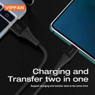 VIPFAN CB-A1 USB-C Cable (1,2m.) Black Blister
