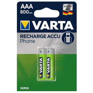 VARTA Rechargeable AAA (T398) 1,24V-800mAh NI-MH Battery 2 Pcs. Blister