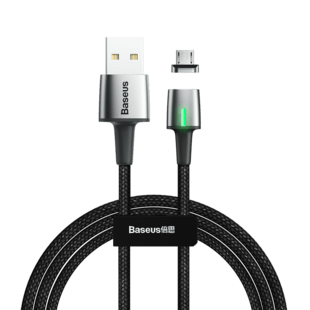 Baseus Zinc Magnetic Micro USB Cable (1m.) Black (Blister)