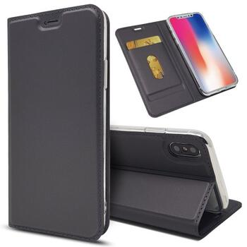 Magnetic PU Leather Card Holder Case for iPhone X Black