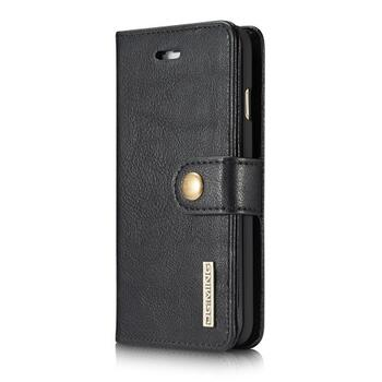 Apple iPhone 7/8 DG.MING Split Leather Wallet Cover with Detachable PC Back Shell Black