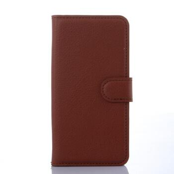 Litchi Grain Wallet Leather Case for Samsung Galaxy S6 Edge Brown