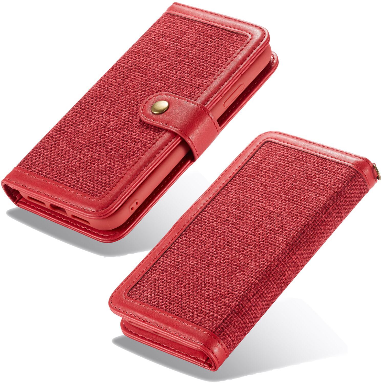 more photos ad83a 51b32 Retro Burlap Flip Case for iPhone X/XS Red