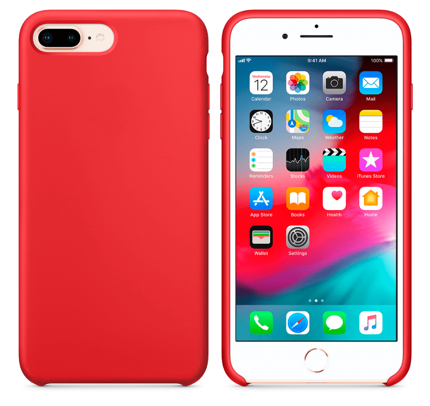 Hard Silicone Case for iPhone 7 Plus/8 Plus Red